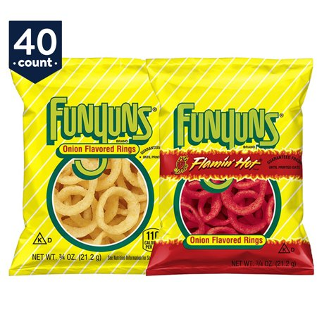 Funyuns Onion Flavored Rings, Variety Snack Pack, 0.75 oz Bags, 40 Count
