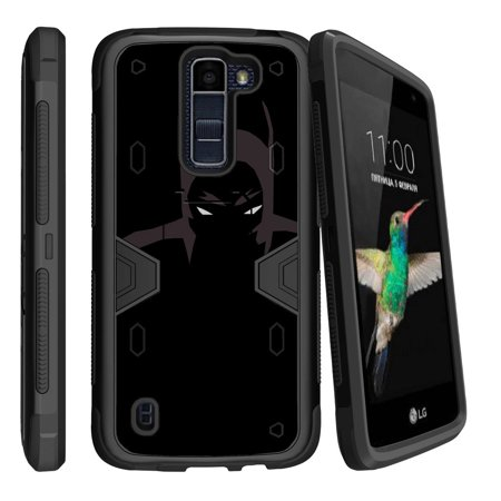 LG K8 | Escape 3 Dual Layer Shock Resistant MAX DEFENSE Heavy Duty Case with Built In Kickstand - Dark Knight](Dark Knight Cowl For Sale)