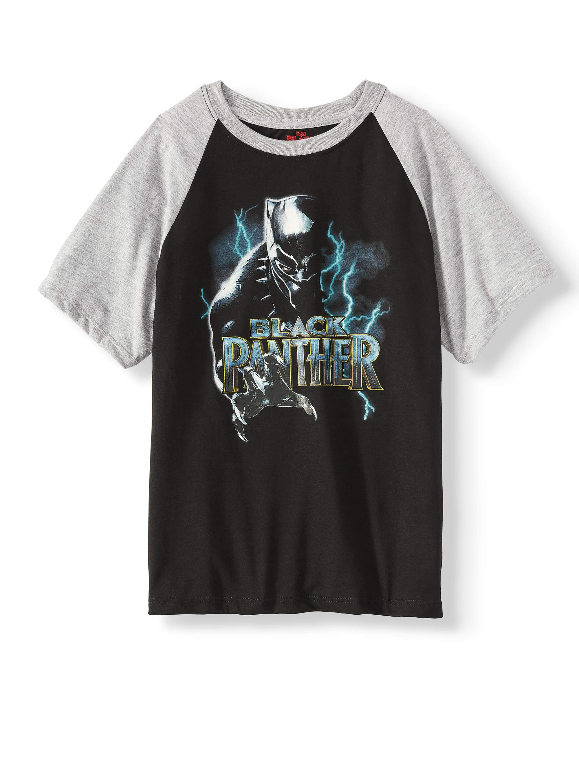 Short Sleeve Black Panther Raglan Tee Shirt (Big Boys)