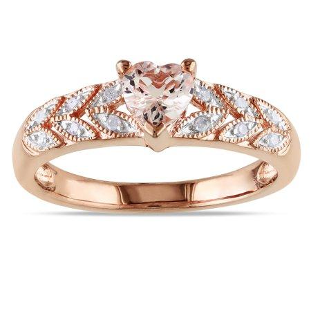 Morganite White Ring - Rose Plated Silver Morganite and Diamond Heart Ring