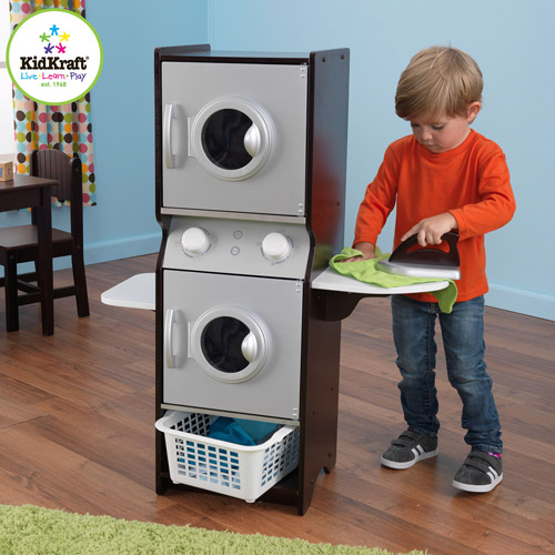 KidKraft Espresso Wooden Laundry Play Set with Iron and Laundry Basket