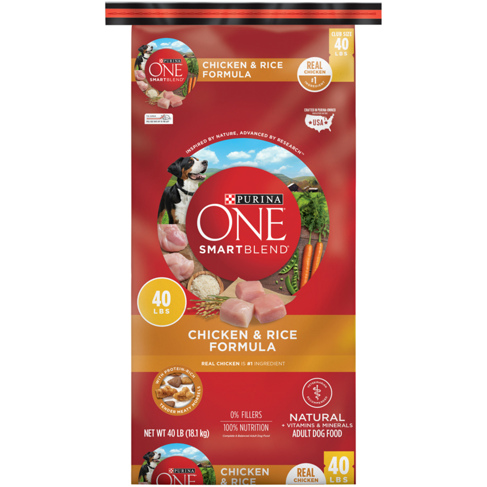 Purina ONE Natural Dry Dog Food; SmartBlend Chicken & Rice Formula - 40 lb. Bag