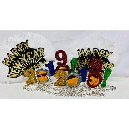 2017 New Years Glasses (Happy New Year Tiaras, Beads, and 2019 Glasses Party Package Party Supplies)