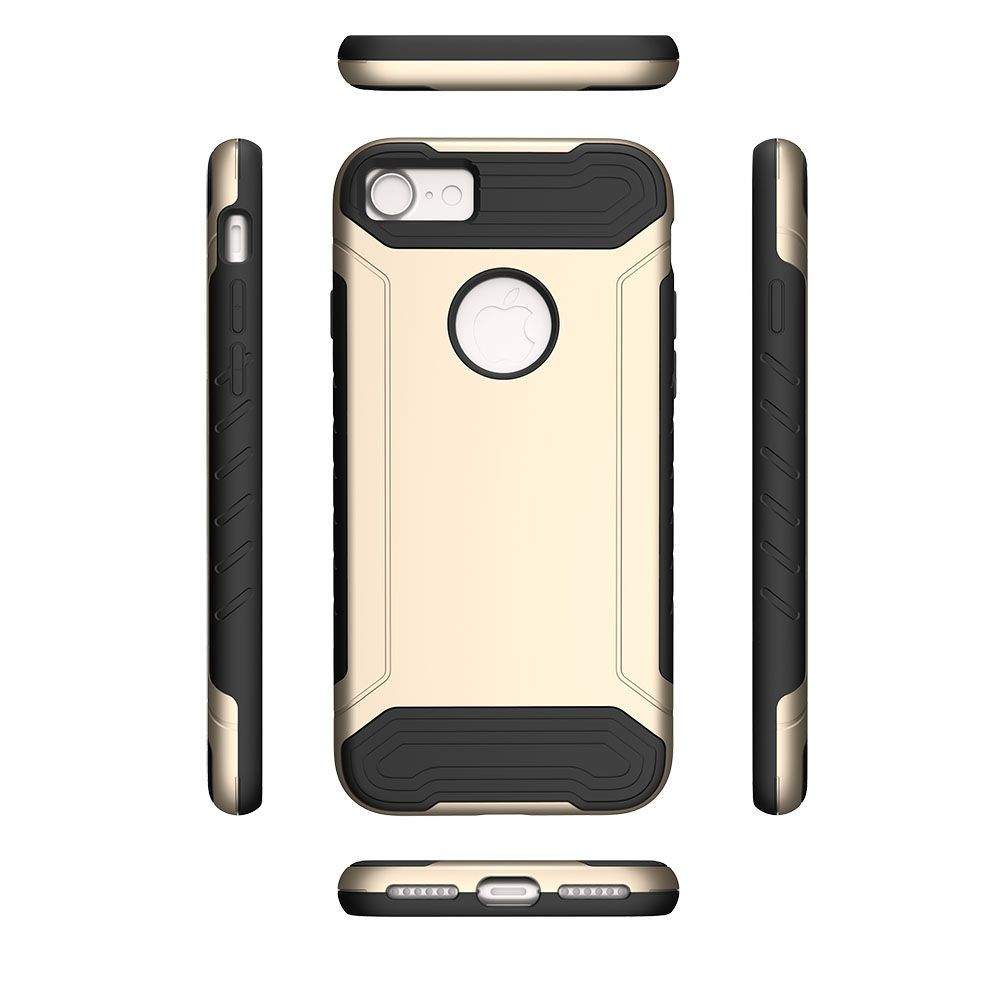iPhone 8 Case, iPhone 7 Case, by Insten Hard Dual Layer TPU Cover Case For Apple iPhone 8 / iPhone 7 - Gold/Black