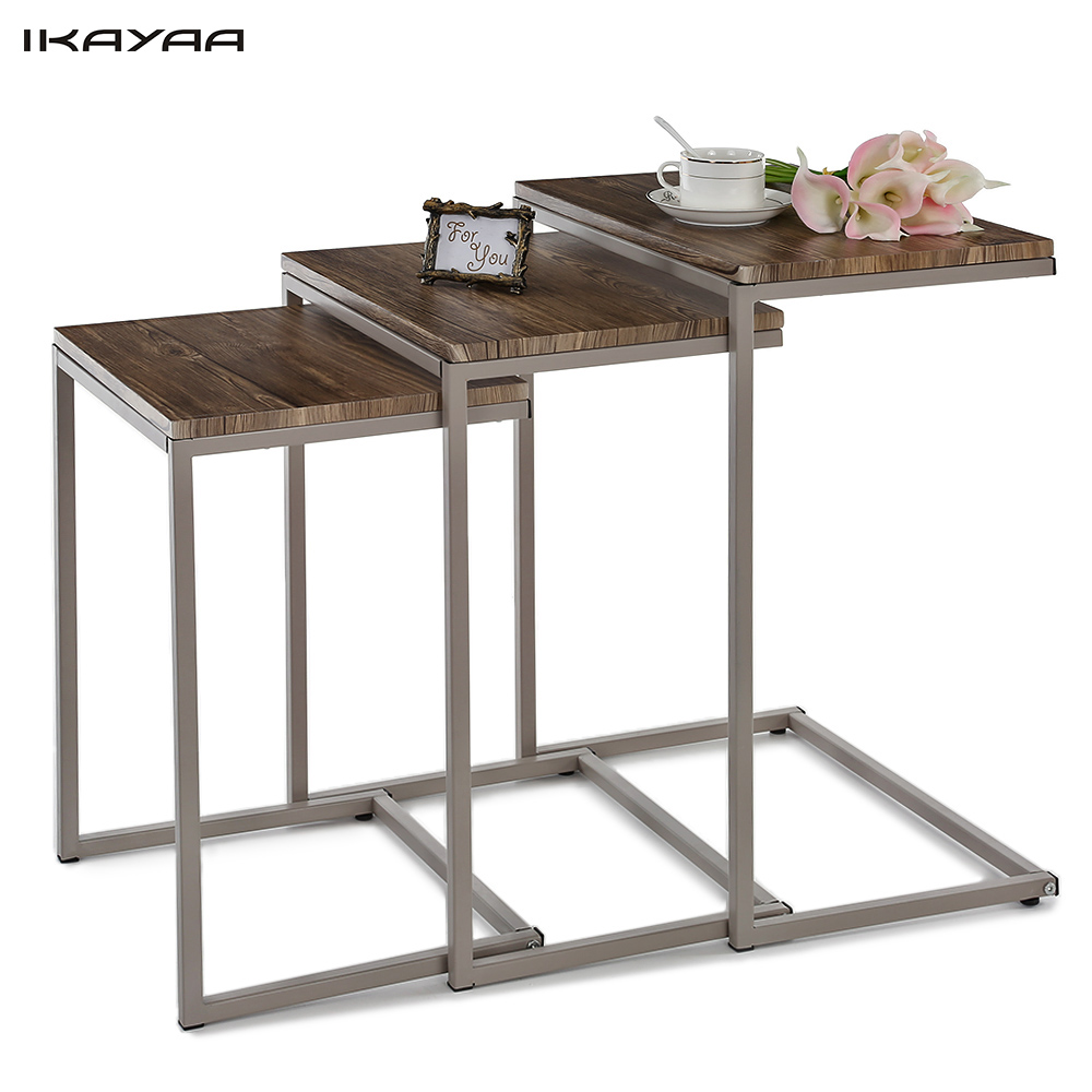 iKayaa 3PCS Metal Frame Nesting Tables Set Sofa Couch Living Room Side End Coffee Tables Ottoman  sc 1 st  Walmart & iKayaa 3PCS Metal Frame Nesting Tables Set Sofa Couch Living Room ...