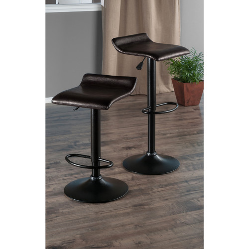 Winsome Wood Paris 2-pc Air Lift Adjustable Swivel Seat Stools