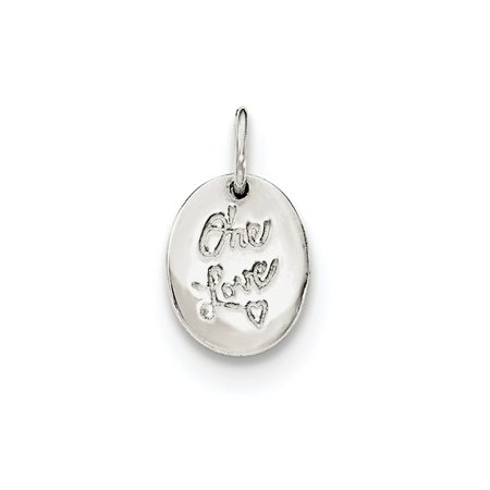 925 Sterling Silver Polished ONE LOVE Pendant
