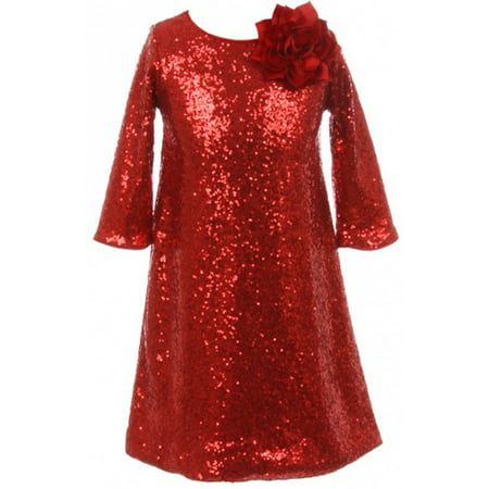 Little Girls Shiny Sequin Short Sleeve Holiday Christmas Party Flower Girl Dress Red 4 (K40D8) Shiny Party Dress