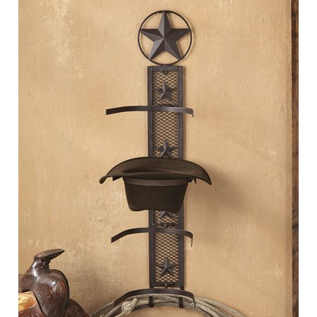 Lone Star Rustic Cowboy Hat Rack   Southwestern Decor