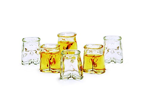 Glass Shot Glasses Set, Fun Clear Pants Shaped Glasses, Set Of 6, 1.5
