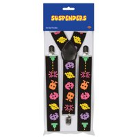 Club Pack of 12 Multi-Colored 80's Pixelated Character Adjustable Suspender Costume Accessories