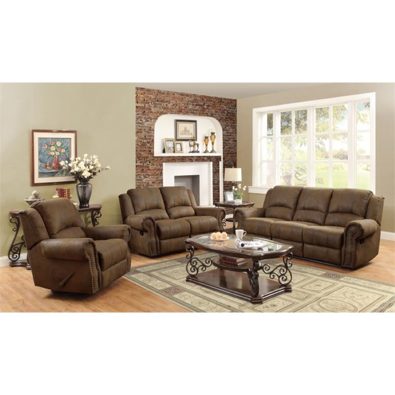 Coaster Rawlinson 3 Piece Microfiber Reclining Sofa Set in Brown