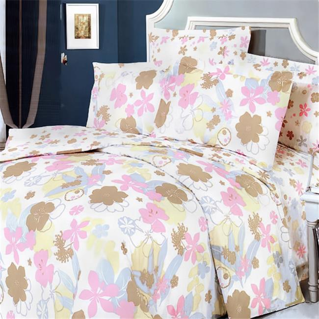 Blancho Bedding MF03-4/CFR01-4 Pink Brown Flowers 5 Piece...