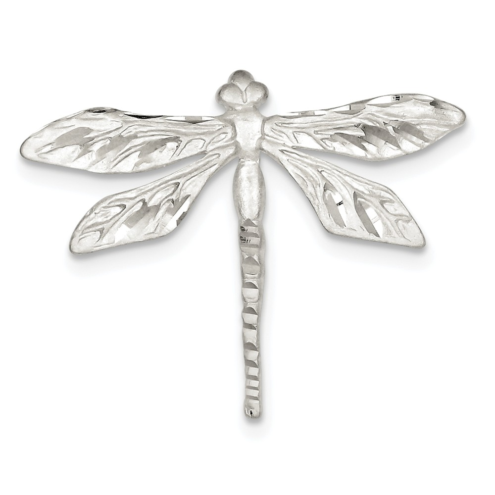 925 Sterling Silver Satin Finish Diamond Cut Dragon Fly Pin by