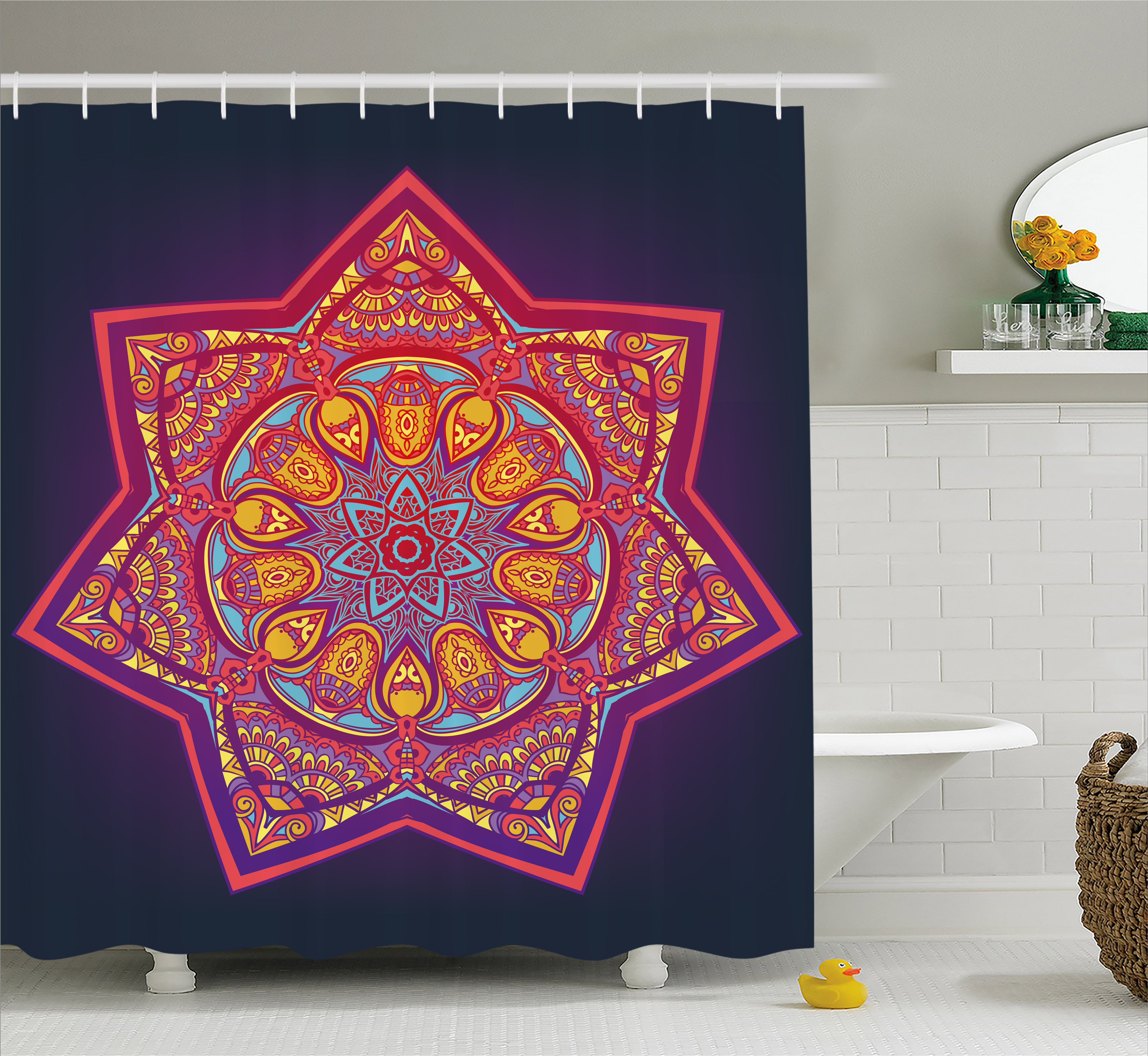 Lotus Shower Curtain, Ornamental Vibrant Mandala Universe Kaleidoscope Folk Tribal Meditation Illustration, Fabric Bathroom Set with Hooks, 69W X 84L Inches Extra Long, Multicolor, by Ambesonne