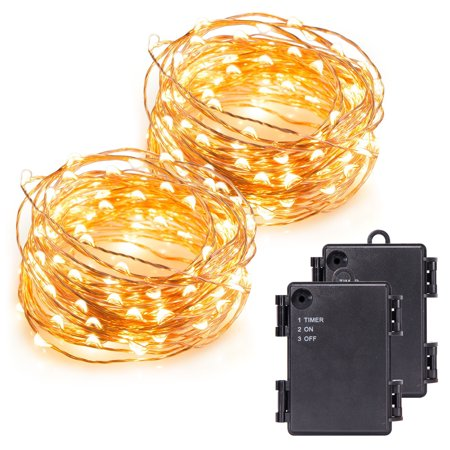 Kohree 2 Pack 120 Micro LEDs string Light Battery Powered on 40ft Long Ultra Thin String Copper Wire, Decor Rope Light