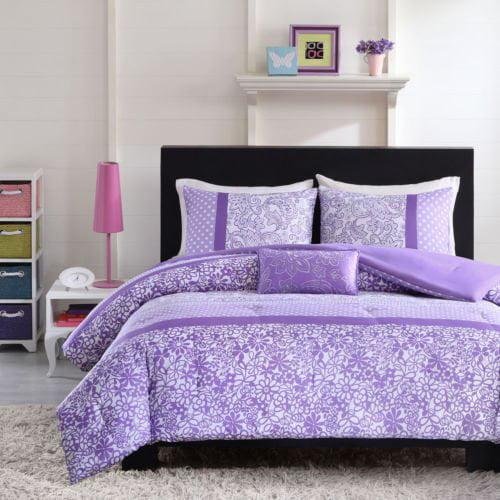 Contemporary 4-pc Purple Microfiber Polyester Comforter Set (Full/Queen)