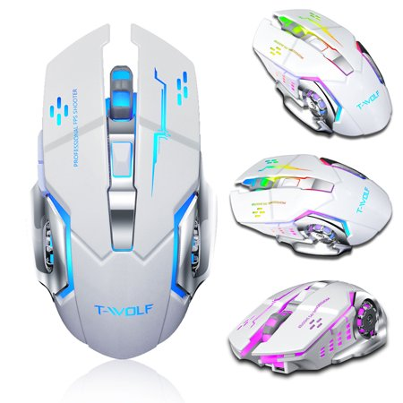 TSV Gaming Mouse Wireless, 6 Buttons, RGB Backlit, 2400 DPI Adjustable, Comfortable Grip Ergonomic Optical PC Computer Gaming Mice