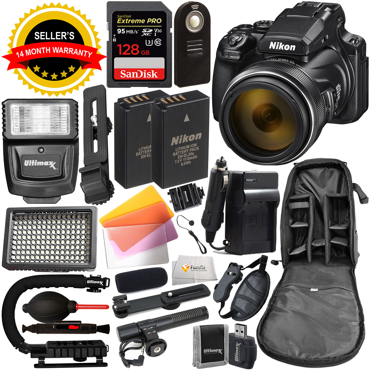 Nikon COOLPIX P1000 Digital Camera with Deluxe Accessory Bundle - Includes: SanDisk Extreme PRO 128GB SDXC UHS-I Memory Card, Extra Battery, Digital Slave Flash & MUCH MORE