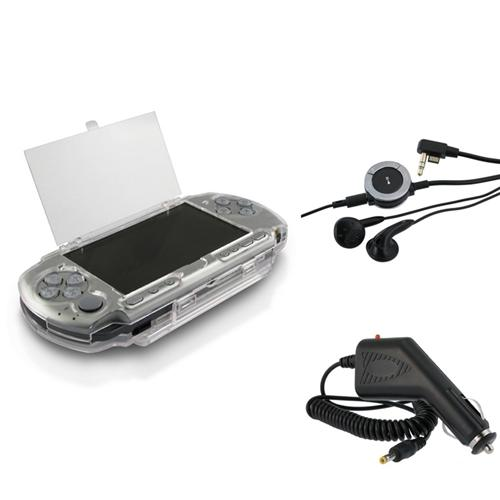 INSTEN Clear Crystal Cover Case+Headset w/Control+Rapid Car Charger For Sony PSP 3000