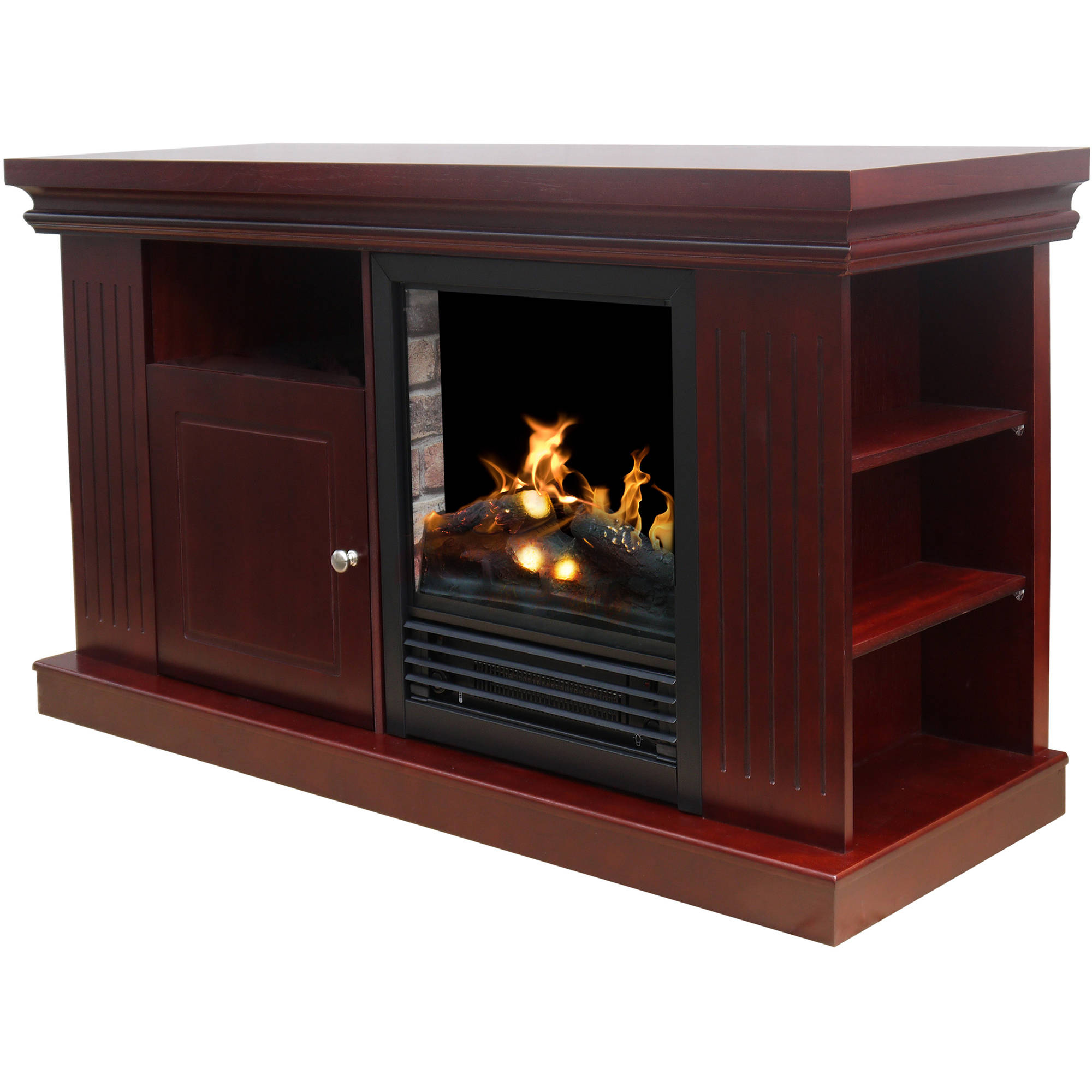 Wood Media Tv Stand Console With Fireplace 48 Media Fireplace For Tvs Up To 55 Ebay