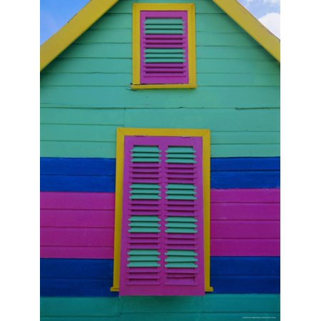 Colourful Chattel House Front, Barbados, West Indies, Caribbean, Central America Print Wall Art By Gavin Hellier