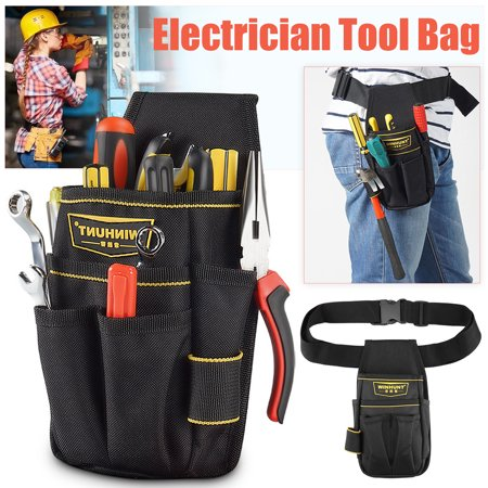Utility Kit Bag - 8in1 Waterproof Portable Multiple Pocket Electrician Tool Screwdriver Utility Kit Holder Case Waist Pouch Bag with Adjustable Waist Belt