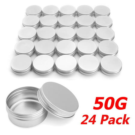 Small Metal Tins (1.8 oz Metal Tin Can Round Empty Container Can Storage with Lip for Favors, Spices, Balms, Gels, Candles, Gifts, Storage 24)