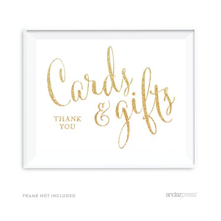 Cards gifts thank you gold faux glitter wedding party for Glitter wedding invitations walmart