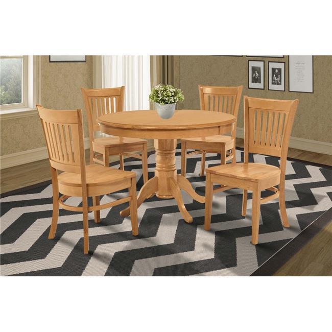M&D Furniture BRMI5-OAK-W Brookline 5 piece small kitchen table and chairs set in Oak finish