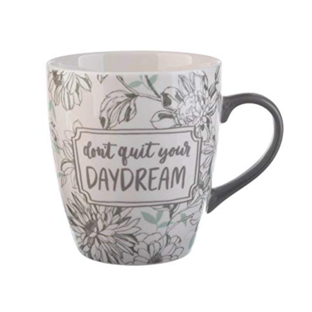 Jumbo Coffee - Clay Art Jumbo Porcelain Coffee Mug 27oz Teal Gray Don't Quit Your Daydream