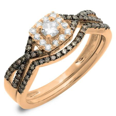 0.60 Carat (ctw) 18K Rose Gold Round Cut Champagne & White Diamond Ladies Swirl Split Shank Bridal Halo Engagement - Diamond Halo Split Shank