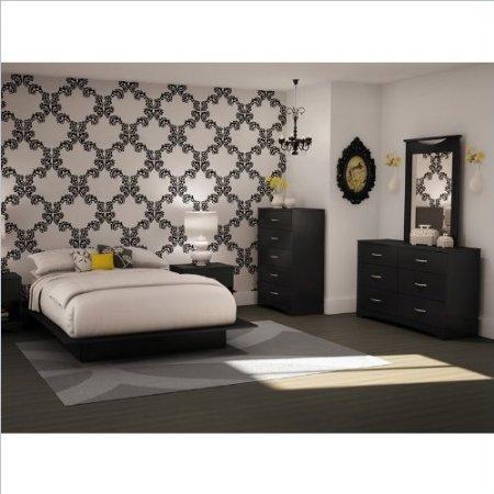 Full Queen Black Wood Platform Bed 5 Piece Bedroom Set by South Shore