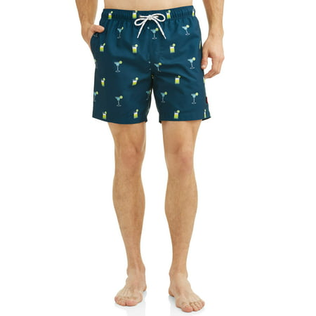 Hot Coals Men's Conversational Printed Swim Shorts Cotton Vintage Swim Trunks