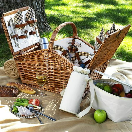 Picnic At Ascot Huntsman Basket For Four With Coffee Set And Blanket In London