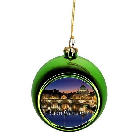 Buon Natale Ornament.Vatican City Rome Italy Buon Natale Ornaments Green Bauble Christmas Ornament Balls