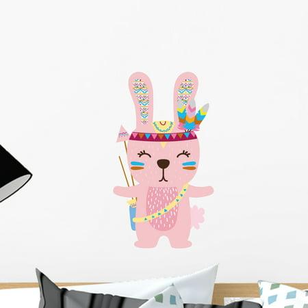 Cute Pink Scandinavian Rabbit Wall Decal Wallmonkeys Peel and Stick Gr