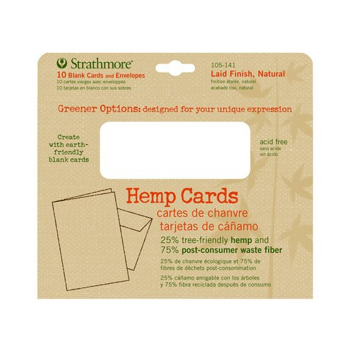 STRATHMORE / PACON PAPERS 105141 HEMP CARDS LAID FINISH NATURAL 5X7 10 PACK