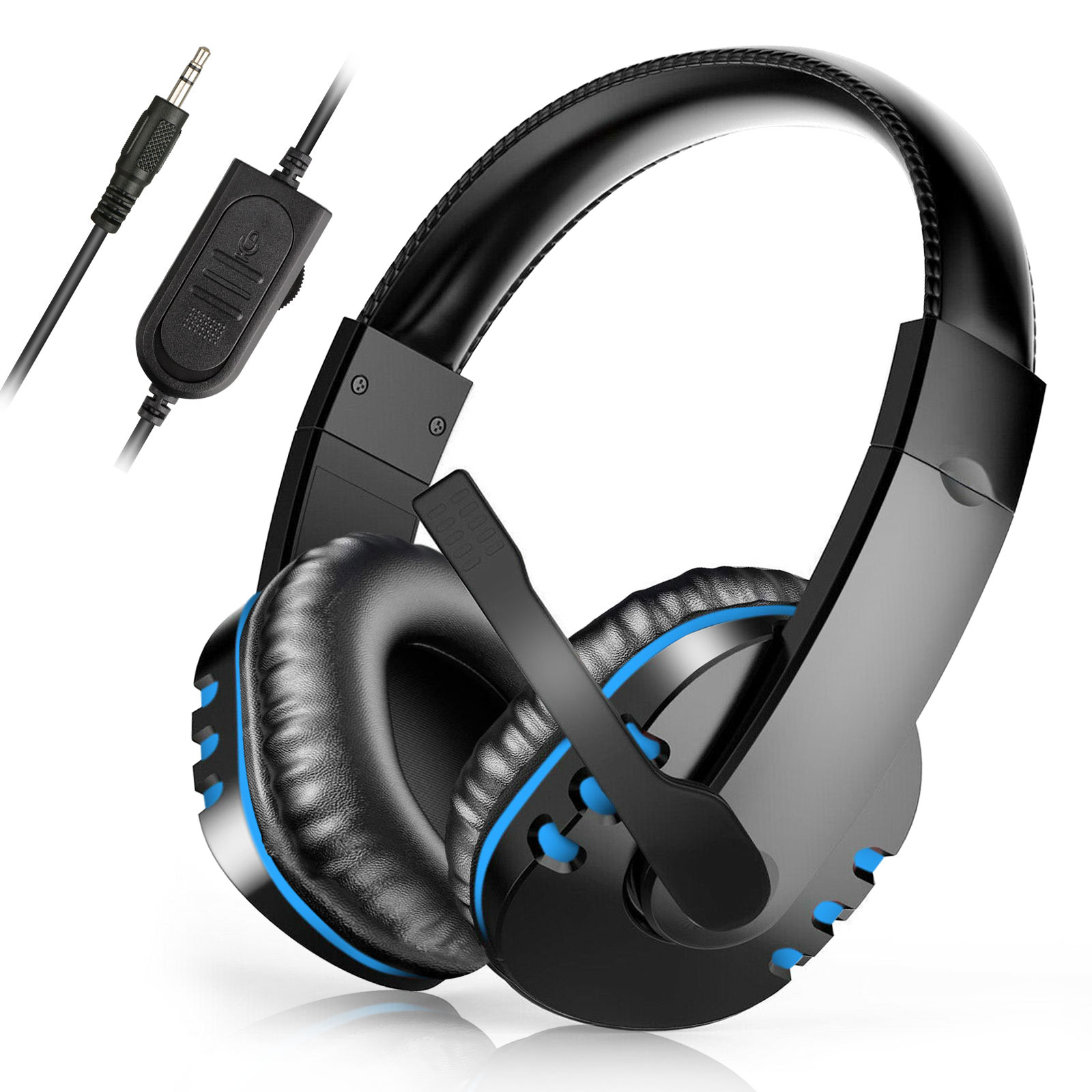 Soft Memory Earmuffs for Laptop Mac Smartphone Bass Surround Noise Cancelling Over Ear Headphones with Mic TeaBoy Stereo Bluetooth Gaming Headset for PS4 PC Xbox One Controller LED Light