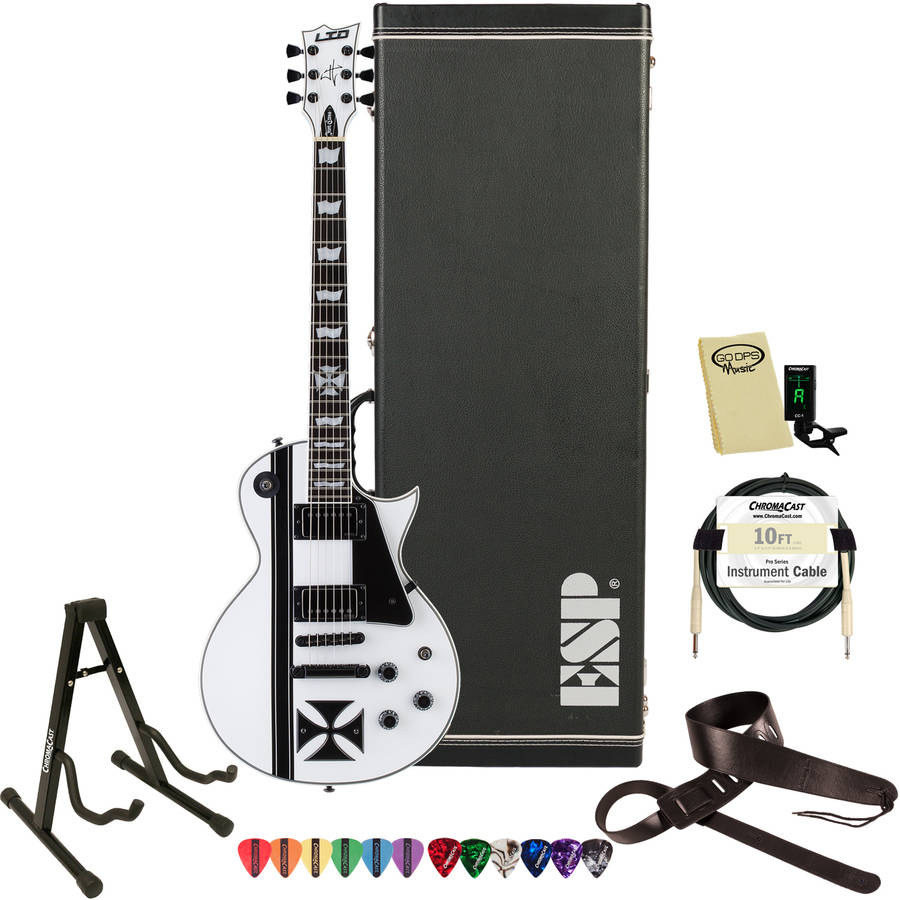 ESP LTD IRON CROSS James Hetfield Signature Iron Cross Graphic and Snow White Finish Electric Guitar with Hard Case and Accessories