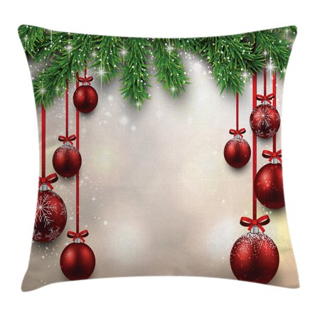 Christmas Decorations Throw Pillow Cushion Cover, Xmas Winter Season Theme Fir Twigs and Vibrant Balls Graphic Print, Decorative Square Accent Pillow Case, 18 X 18 Inches, Green Red, by - Winter Ball Theme Ideas
