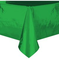 Foil Plastic Tablecloth, 108 x 54 in, Green, 1ct