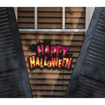 Lighted Happy Halloween Window Decoration