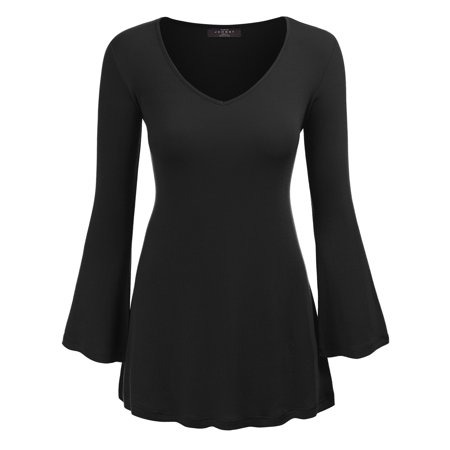 MBJ WT1055 Womens V Neck Long Bell Sleeves Pullover Tunic Top L - Womens Long Sleeve Black Tee