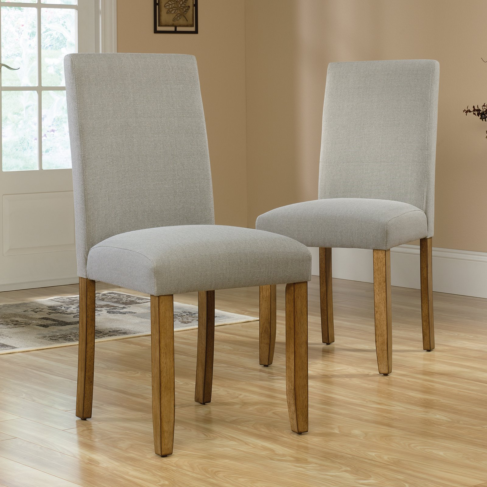Sauder Cannery Bridge Parsons Chairs, 2 Pack, Gray Finish