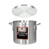 "Winco AXS-32, 32-Quart 13"" x 14"" Super Extra-Heavy Aluminum Professional Stock Pot with Cover, Commercial Grade Sauce Pot with Lid"