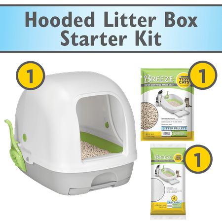 Purina Tidy Cats Hooded Litter Box System, BREEZE Hooded System Starter Kit Litter Box, Litter Pellets & Pads Cat Spray Litter Box