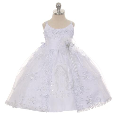 RainKids Baby Girls White Off-Shoulder Bonnet Cape Christening Dress 3-24M