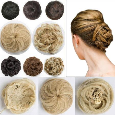 S-noilite Hair Bun Extension with Elatsic Drawstring Claw Comb Ponytail Messy Chignon Updo Ponytail Scrunchie Donut Hairpiece dark black,55g