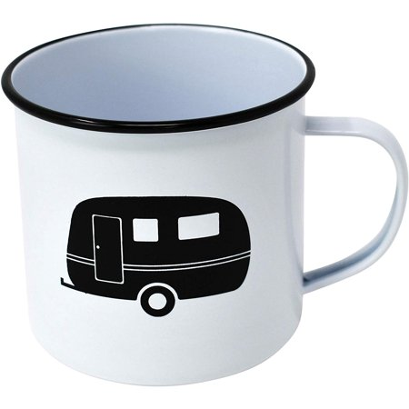 Enamel Mug by Modern Retro! Camping Mug in 8 Vintage Enamelware Designs – Fun Metal Coffee Mug and Durable Camping Cup - Tin Mugs for Coffee (or Whiskey) Home and Camp Cups with Nostalgia (CARAVAN)